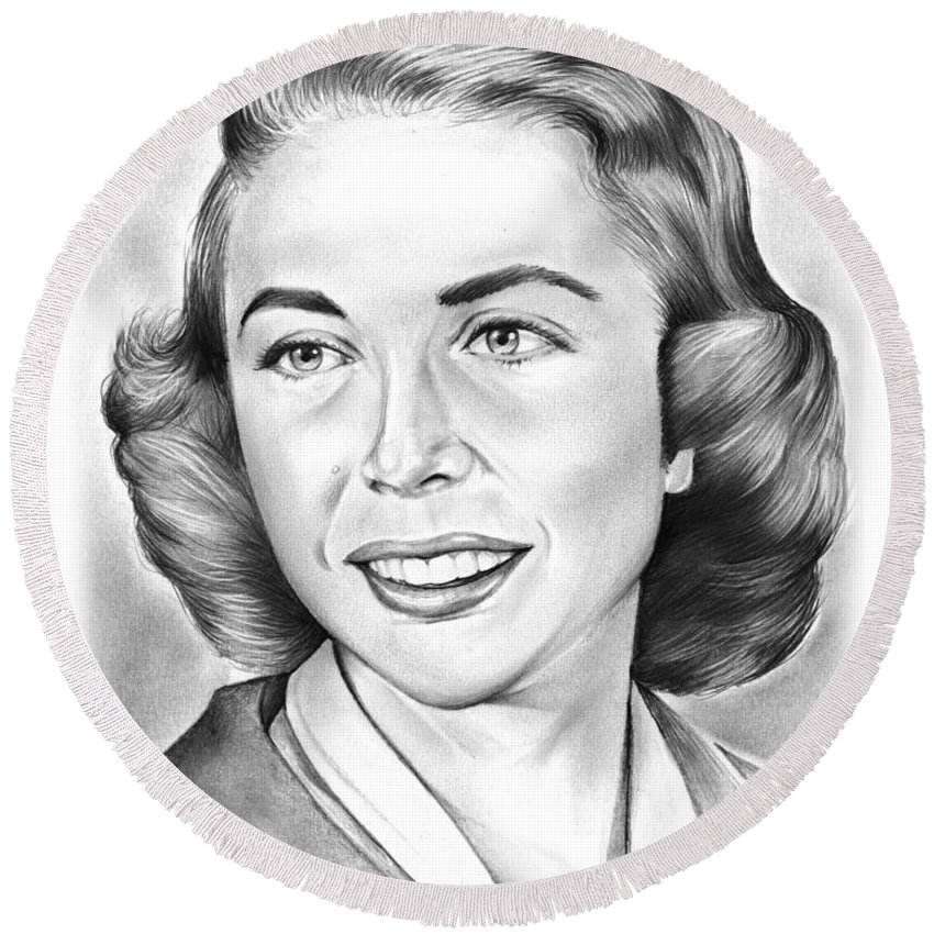 Joyce Brothers Round Beach Towel featuring the drawing Dr. Joyce Brothers by Greg Joens