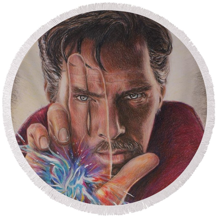 Dr. Strange Round Beach Towel featuring the drawing Dr. Strange by Christine Jepsen