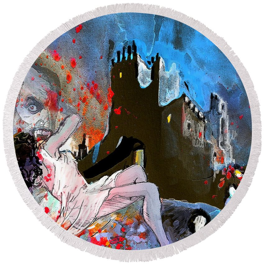 Dracula Round Beach Towel featuring the painting Dracula by Miki De Goodaboom