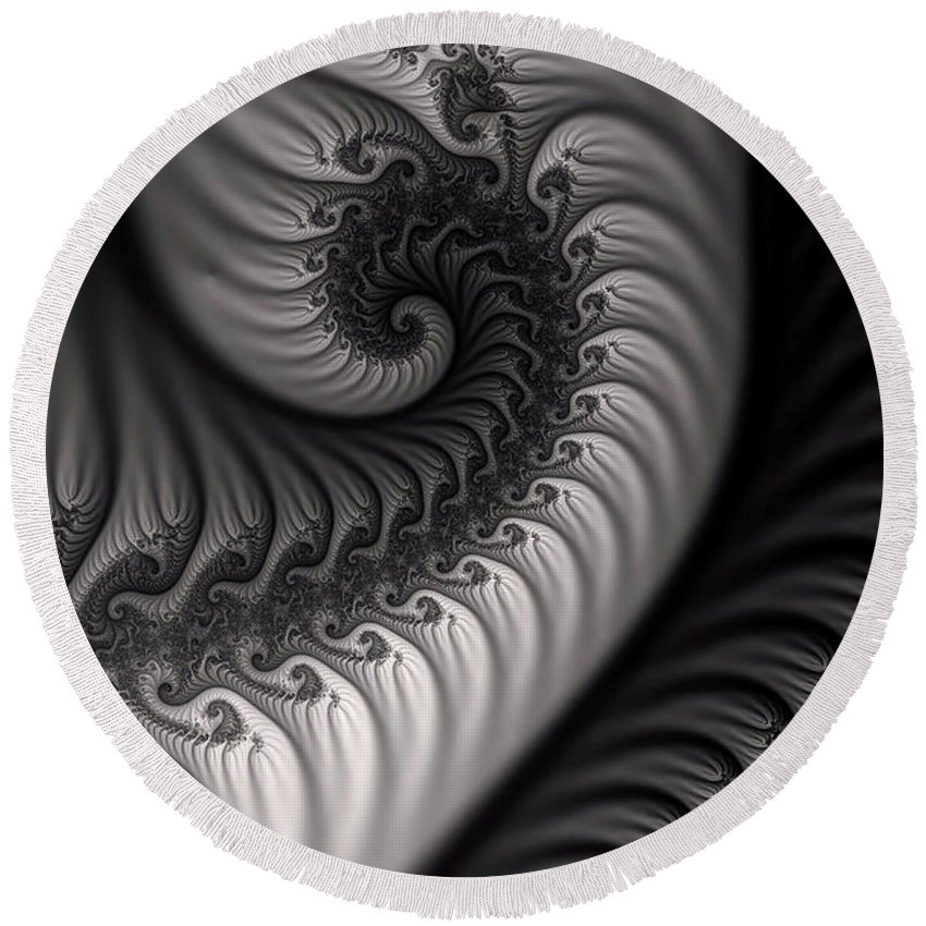 Clay Round Beach Towel featuring the digital art Dragon Belly by Clayton Bruster