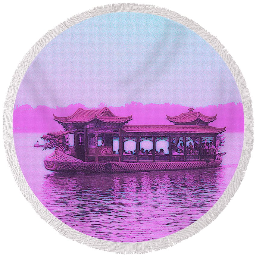 Cityscape Round Beach Towel featuring the photograph Dragon Boat by Steven Hlavac