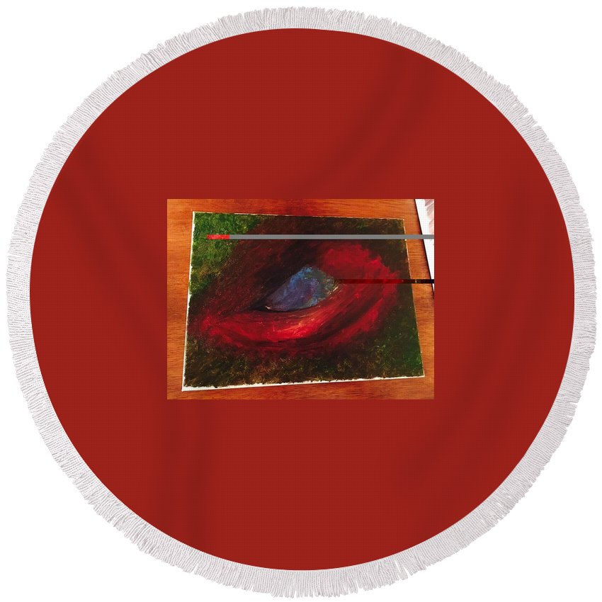 Round Beach Towel featuring the painting Dragon Eye by David Molleo