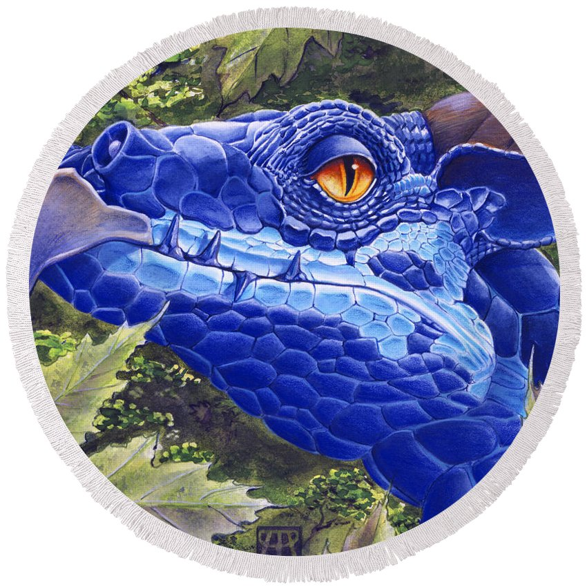 Dragon Round Beach Towel featuring the painting Dragon Eyes by Melissa A Benson