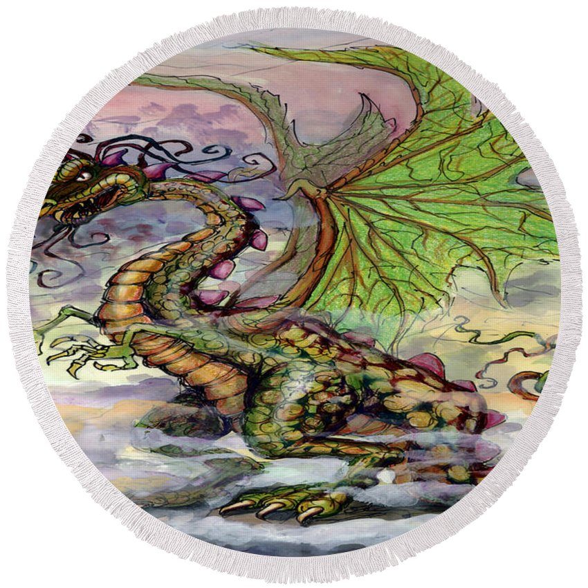 Dragon Round Beach Towel featuring the painting Dragon by Kevin Middleton