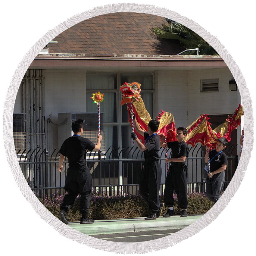 Dragon Round Beach Towel featuring the photograph Dragon Parade Camarillo Year Of The Dog 2018 by Michael Gordon