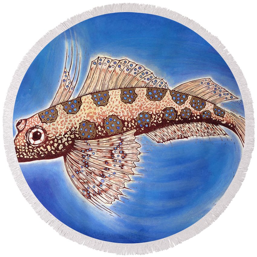 Fish Round Beach Towel featuring the painting Dragonet Fish by Nat Morley