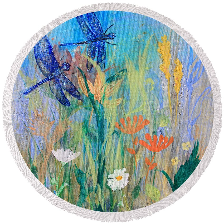 Dragonflies Round Beach Towel featuring the painting Dragonflies In Wild Garden by Robin Maria Pedrero