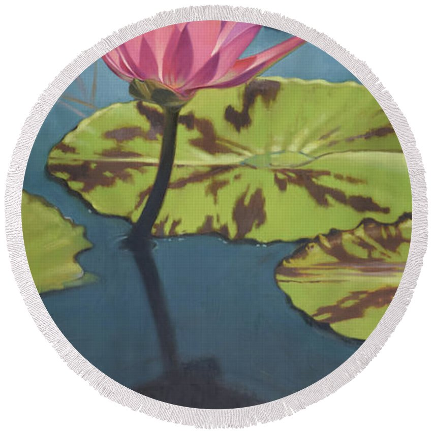 Dragonfly Round Beach Towel featuring the painting Dragonfly 2 by Todd Baxter