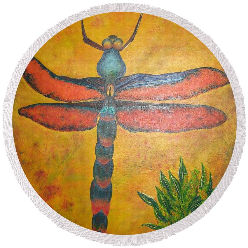 Nature Round Beach Towel featuring the painting Dragonfly In Flight by Debbie Levene