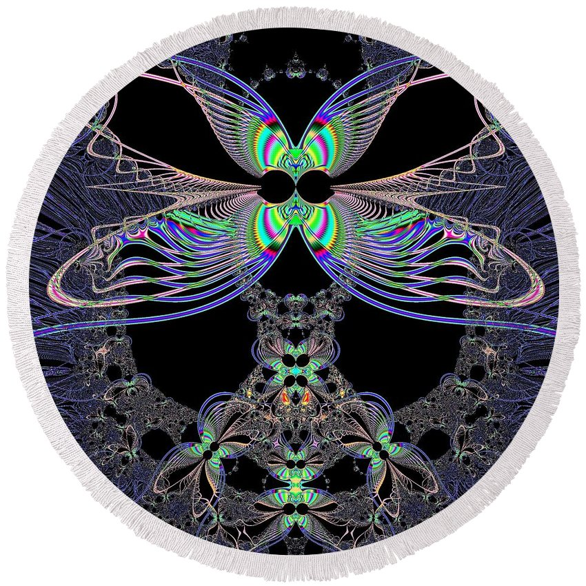 Dragonfly Queen At Midnight Round Beach Towel featuring the digital art Dragonfly Queen At Midnight Fractal 161 by Rose Santuci-Sofranko