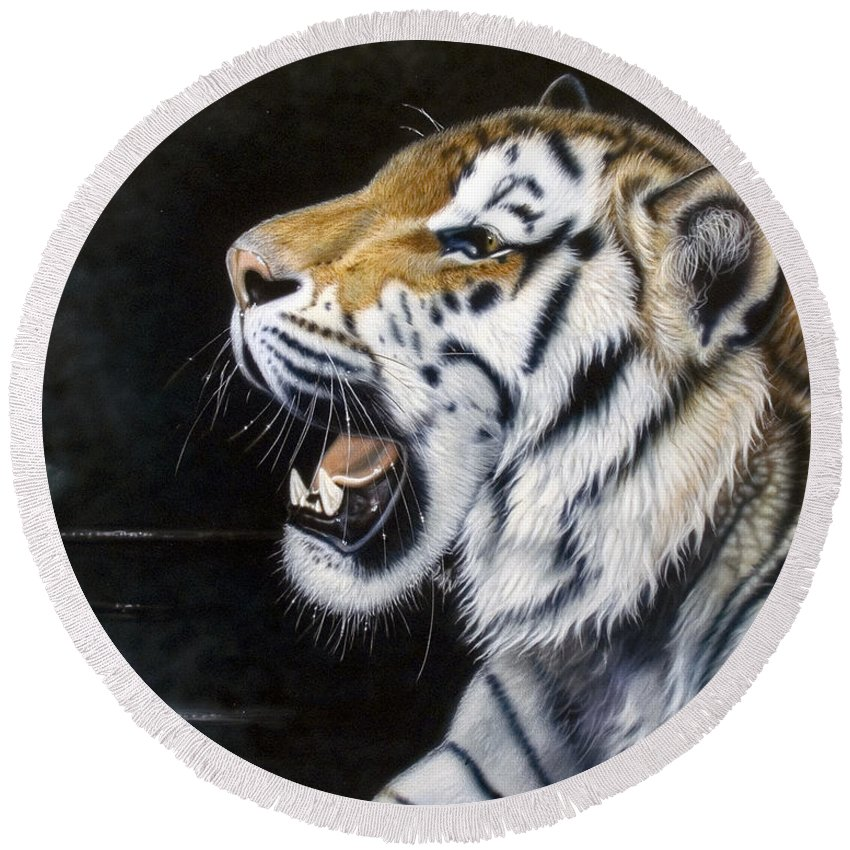 Tiger Round Beach Towel featuring the painting Dragonfly by Sandi Baker