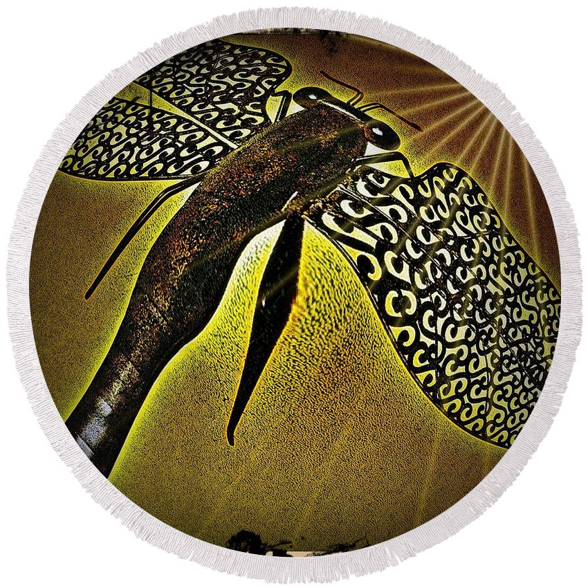 Dragonfly Round Beach Towel featuring the digital art Dragonfly V by Leslie Revels