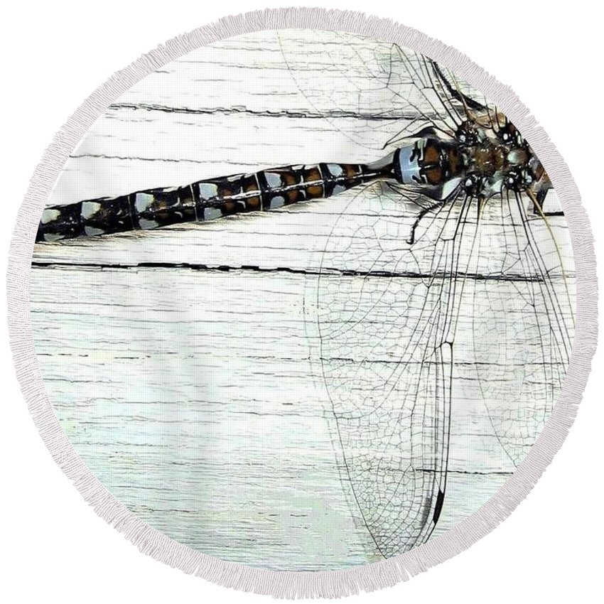 Insect Round Beach Towel featuring the photograph Dragonfly by Will Borden