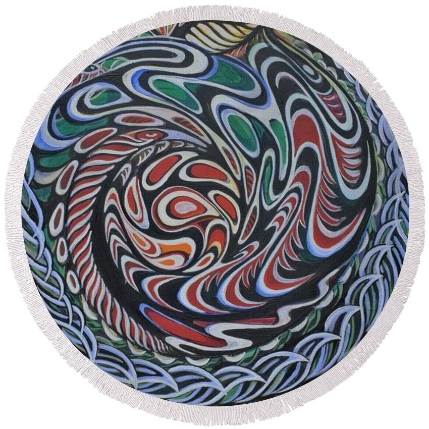 Heartart Round Beach Towel featuring the painting Dragon's Eye by Mingo