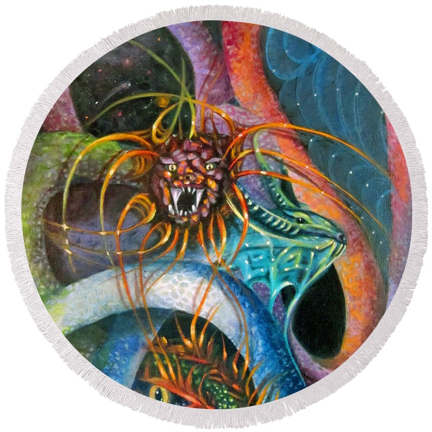 Curvismo Round Beach Towel featuring the painting Dragons Three by Sherry Strong