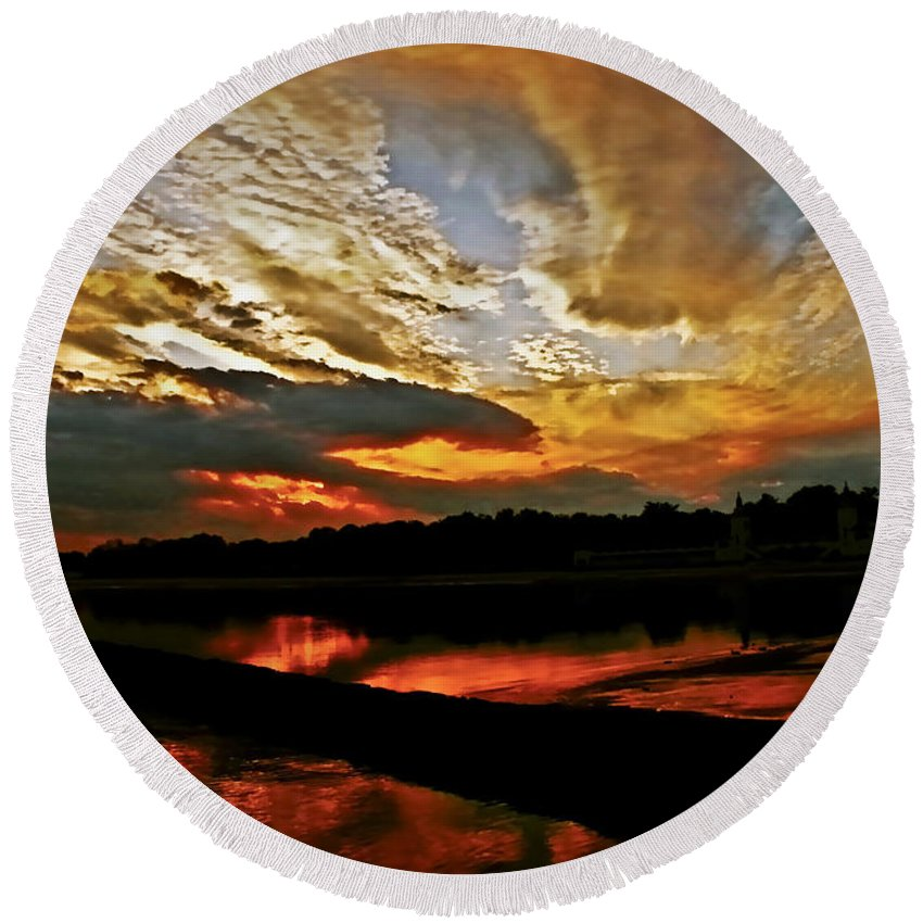 Clouds Round Beach Towel featuring the photograph Drama In The Sky At The Sunset Hour by Carol F Austin