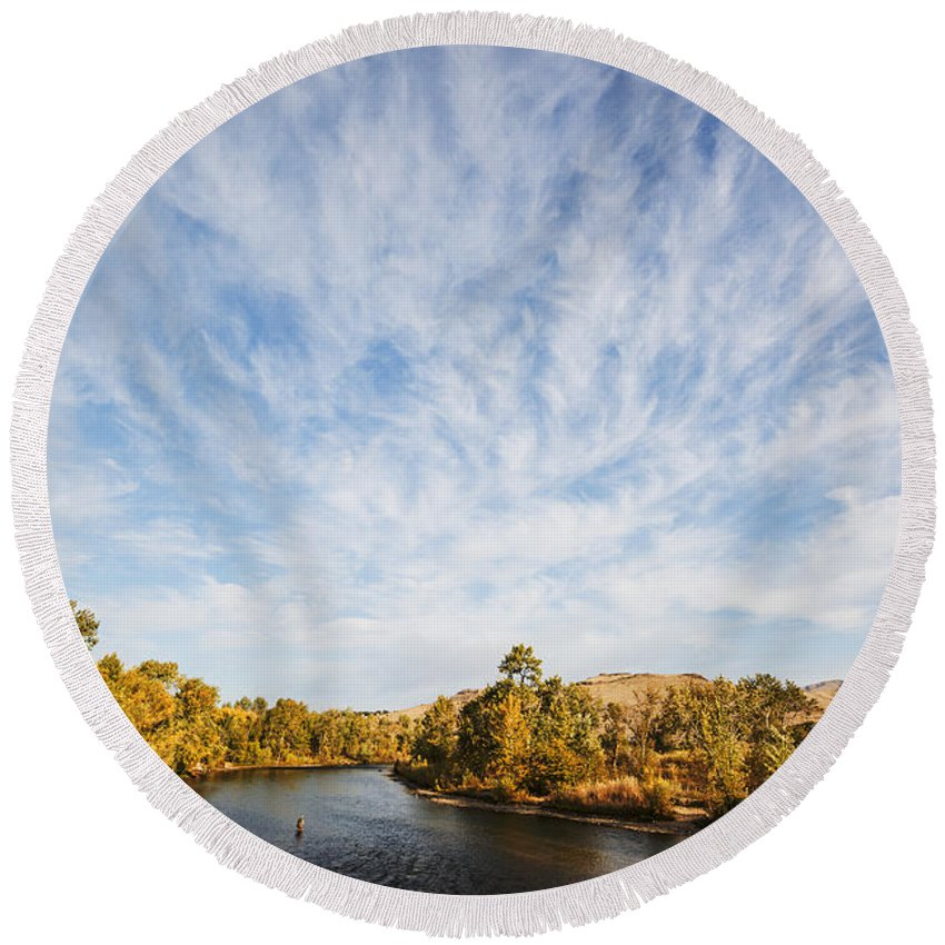 Boise River Round Beach Towel featuring the photograph Dramatic Clouds Over Boise River In Boise Idaho by Vishwanath Bhat