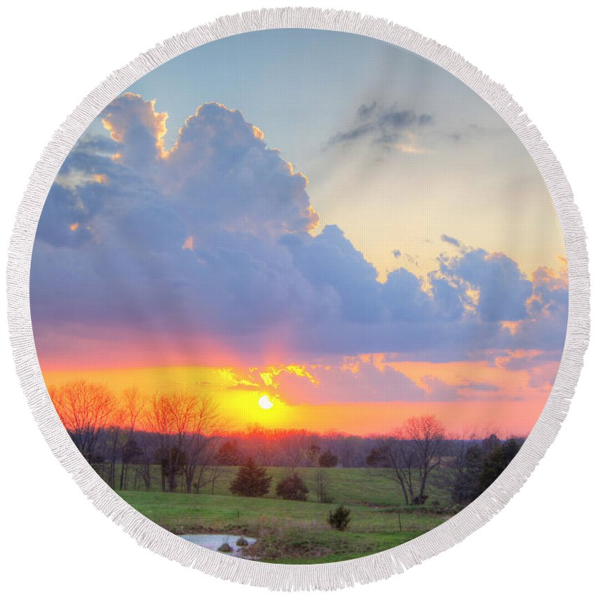 Sky Round Beach Towel featuring the photograph Dramatic Skies by Cricket Hackmann