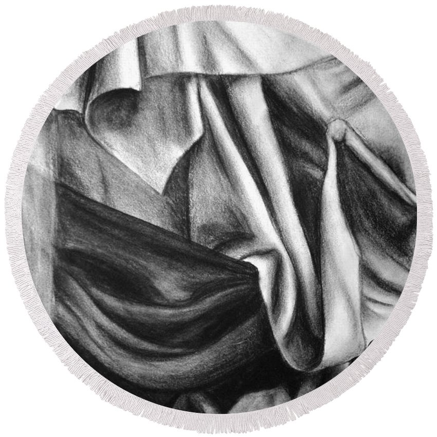Charcoal Round Beach Towel featuring the drawing Drapery Still Life by Nancy Mueller