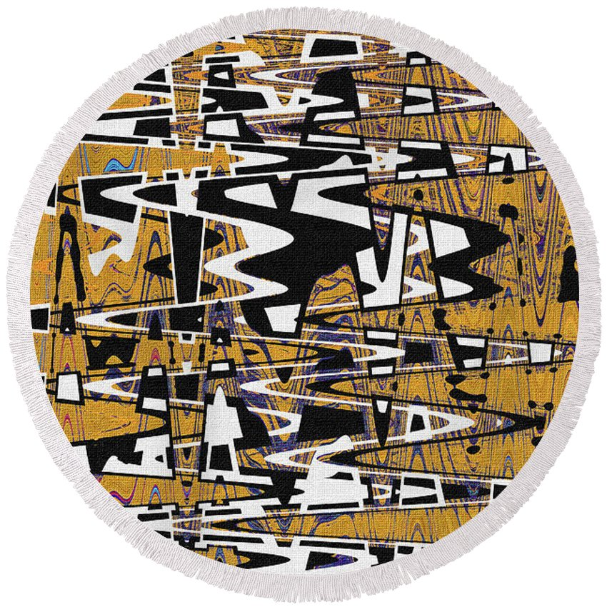 Drawing Composition Abstract Round Beach Towel featuring the photograph Drawing Composition Abstract by Tom Janca