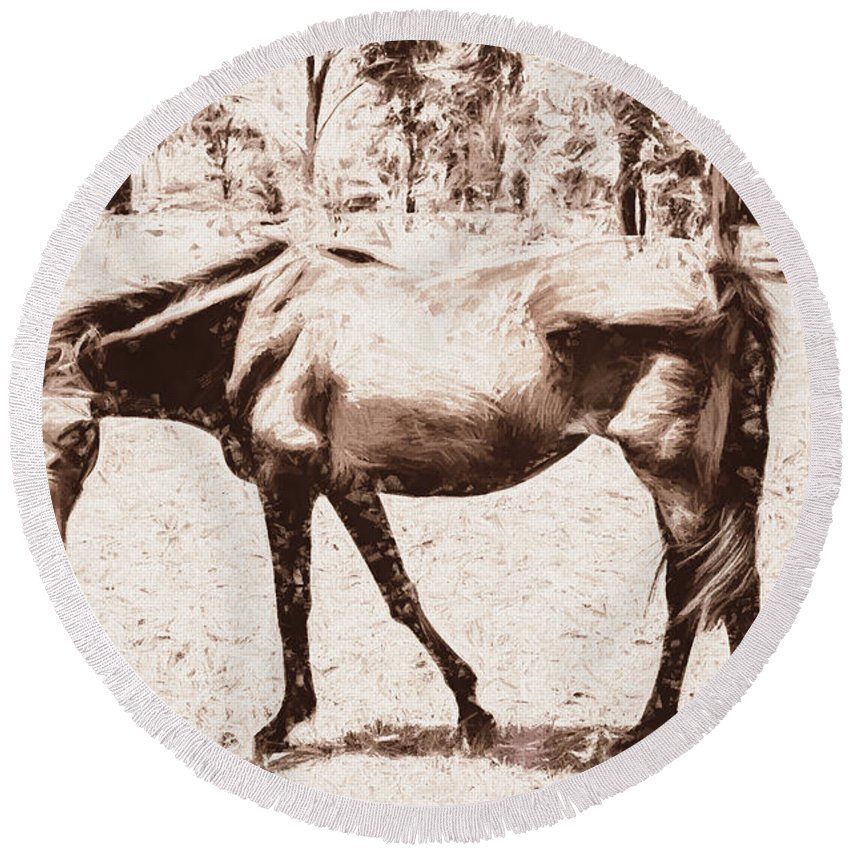 Vintage Round Beach Towel featuring the digital art Drawn Ranch Horse by Jorgo Photography - Wall Art Gallery