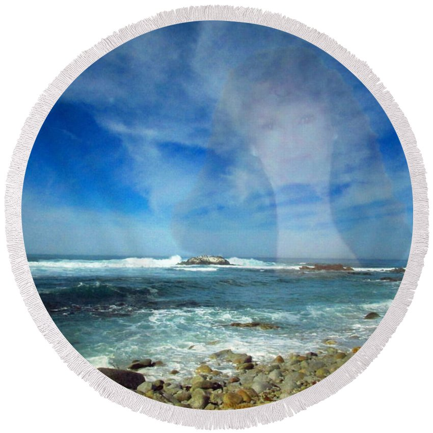 Asilomar Round Beach Towel featuring the photograph Drawn To The Sea by Joyce Dickens