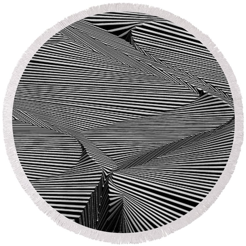 Dynamic Black And White Round Beach Towel featuring the painting Drawnoylevarb by Douglas Christian Larsen
