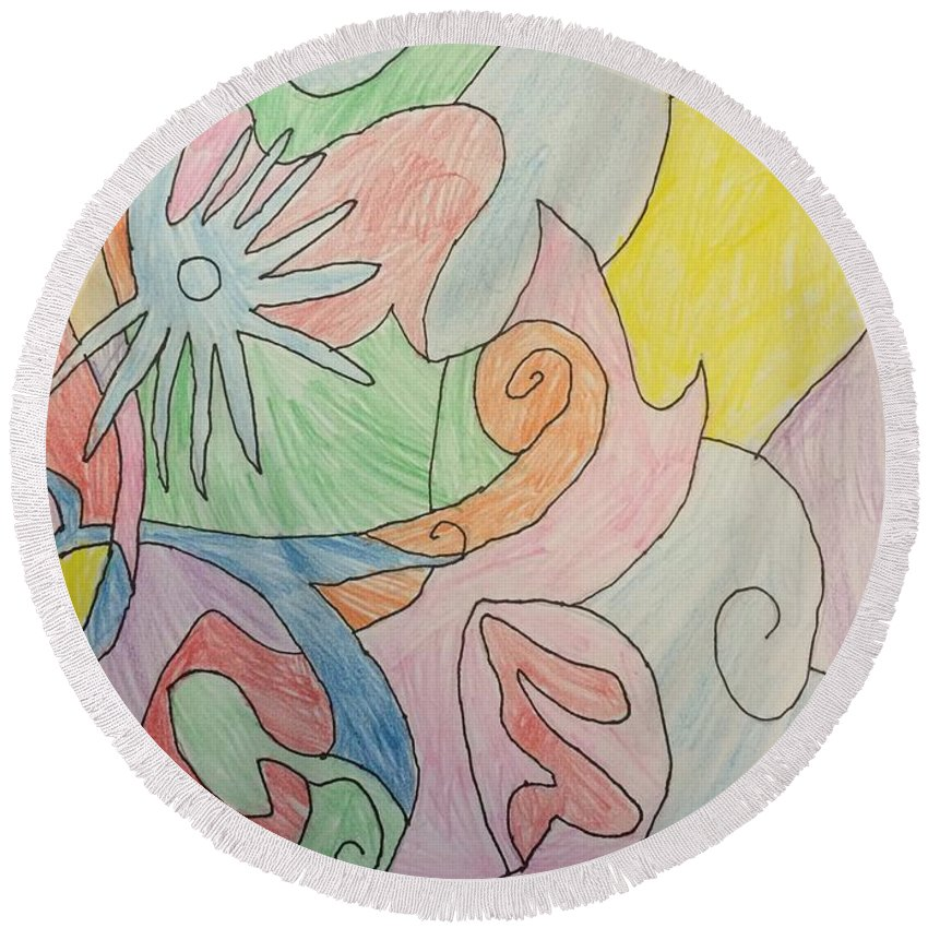 Abstract Round Beach Towel featuring the drawing Dream 1 by Jonathan Rispoli