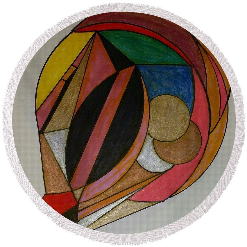 Geometric Art Round Beach Towel featuring the glass art Dream 10 by S S-ray