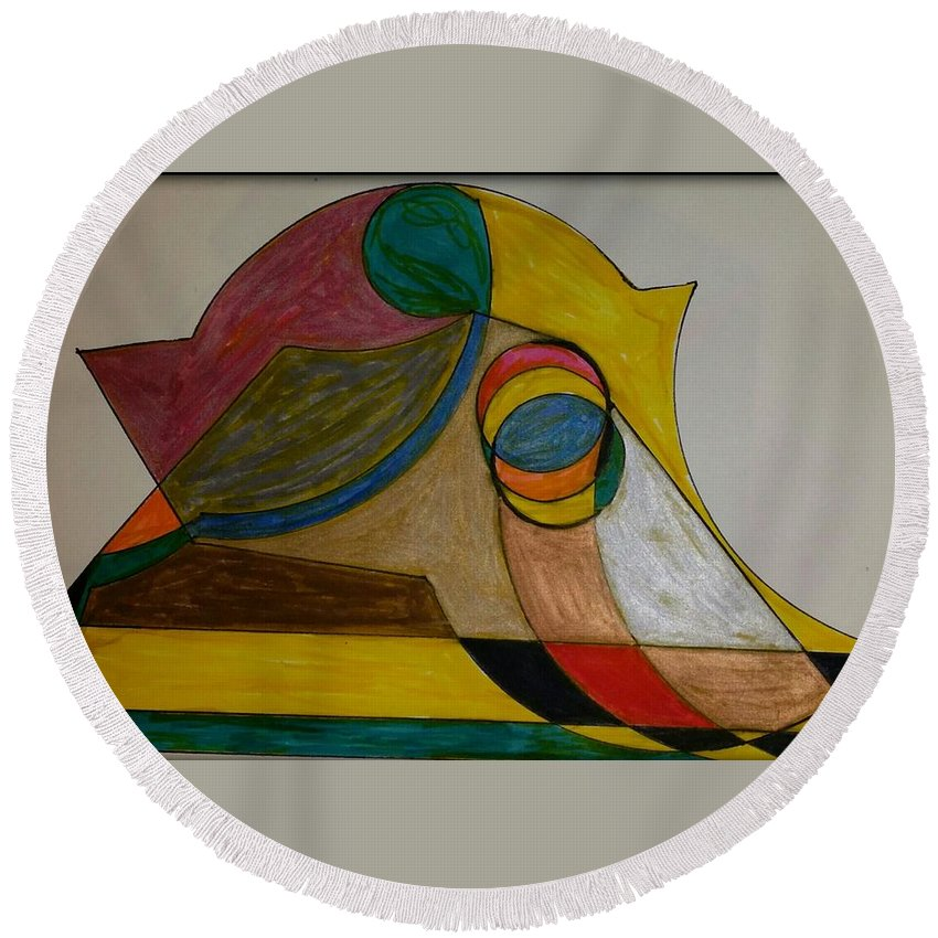 Geometric Art Round Beach Towel featuring the glass art Dream 2 by S S-ray