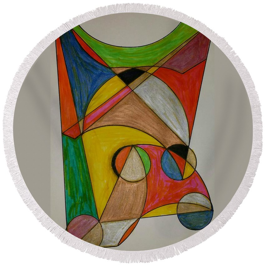 Geometric Art Round Beach Towel featuring the glass art Dream 5 by S S-ray