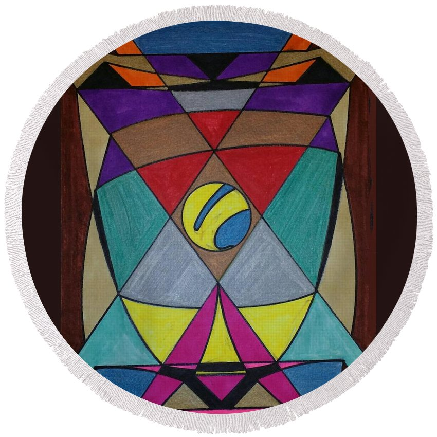 Geometric Art Round Beach Towel featuring the glass art Dream 78 by S S-ray