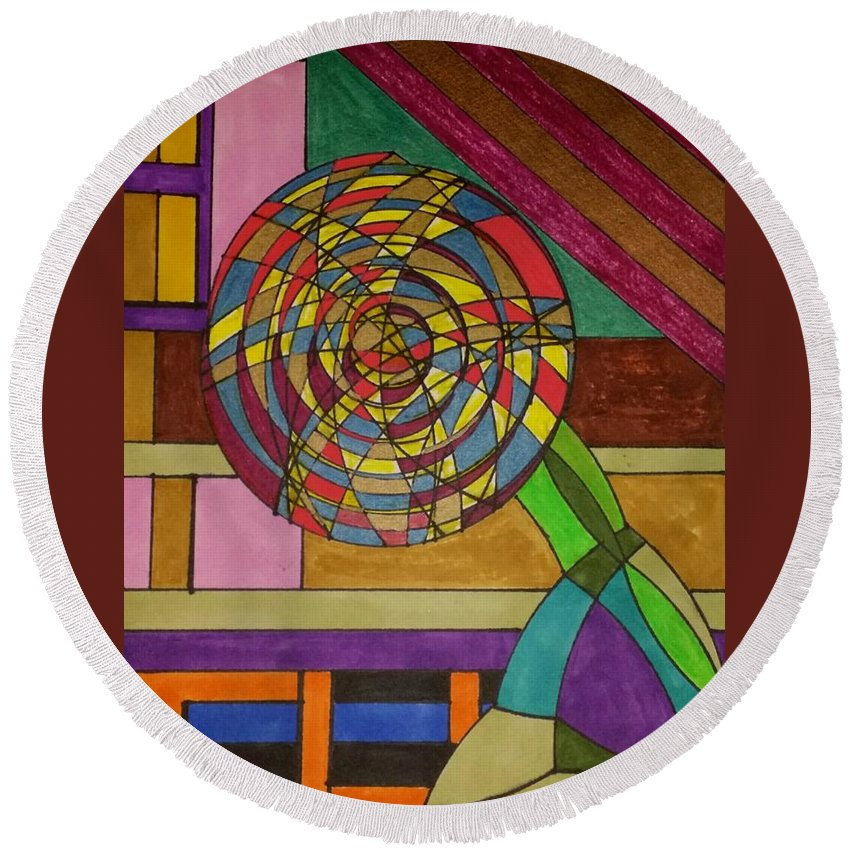 Geometric Art Round Beach Towel featuring the glass art Dream 81 by S S-ray