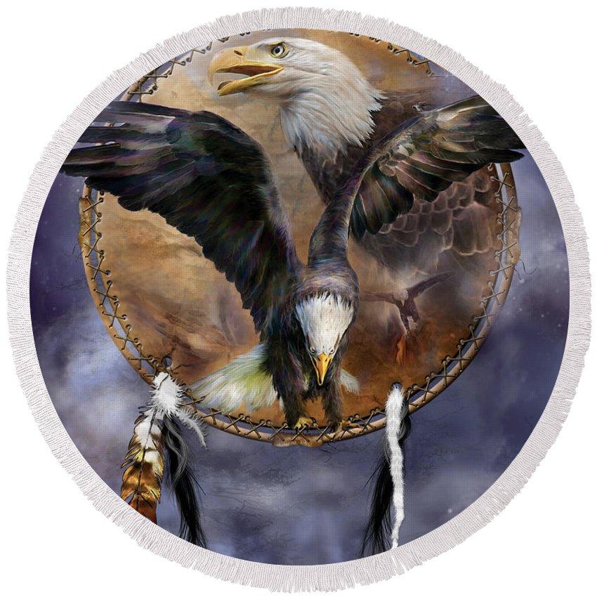 Carol Cavalaris Round Beach Towel featuring the mixed media Dream Catcher - Spirit Eagle 3 by Carol Cavalaris