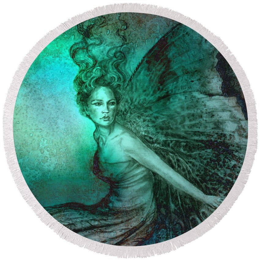 Fairy Round Beach Towel featuring the painting Dream Fairy by Ragen Mendenhall