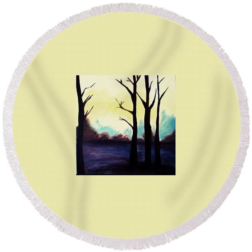 Landscape Round Beach Towel featuring the painting Dream by Murali Gatti