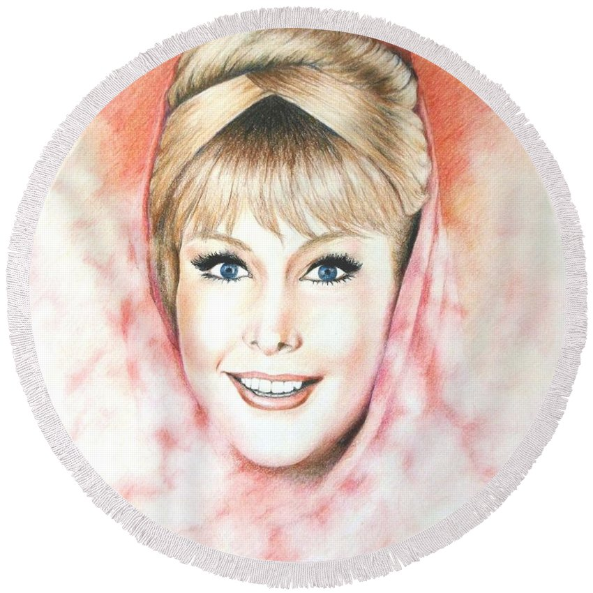 Dream Round Beach Towel featuring the drawing Dream Of Jeannie by Yelena Day