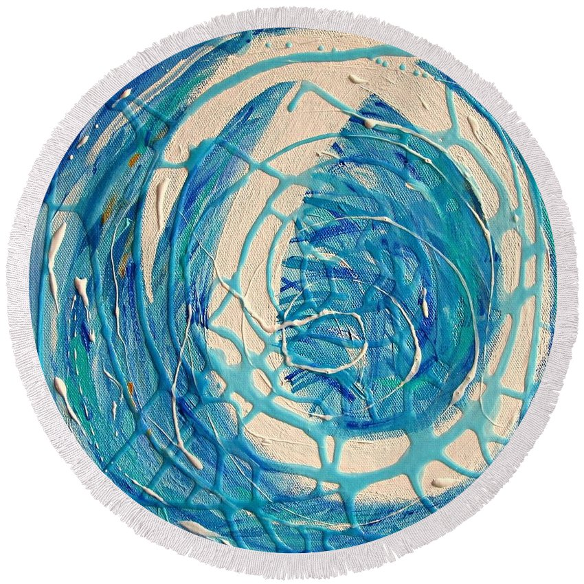 Abstract Round Beach Towel featuring the painting Dream Weaver Diptych by Mary Mirabal
