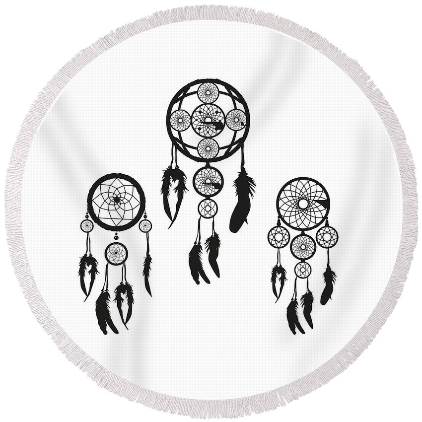 Witchcraft Round Beach Towel featuring the digital art Dreamcatcher by Frederick Holiday
