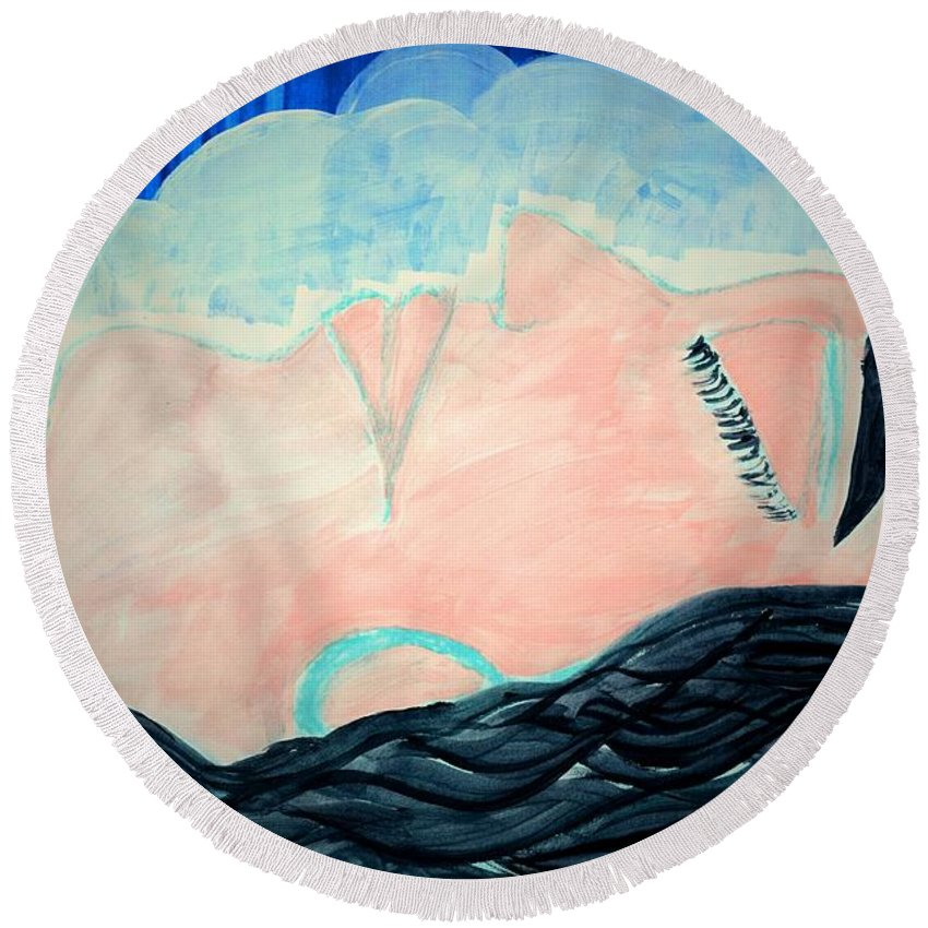 Sleeping Woman Round Beach Towel featuring the painting Dreamer by Valerie Dauce