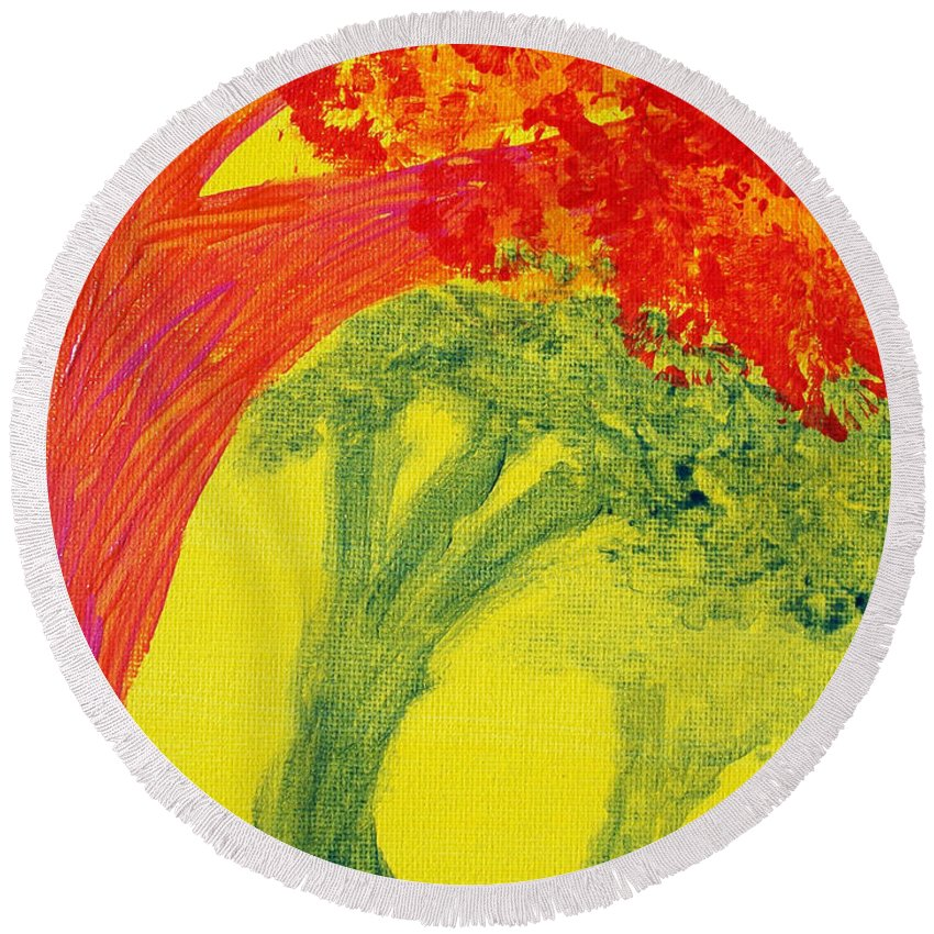 Orange Round Beach Towel featuring the painting Dreaming And Shadows by Laurette Escobar