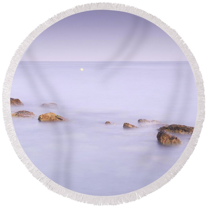 Seascape Round Beach Towel featuring the photograph dreaming between the islands III by Guido Montanes Castillo
