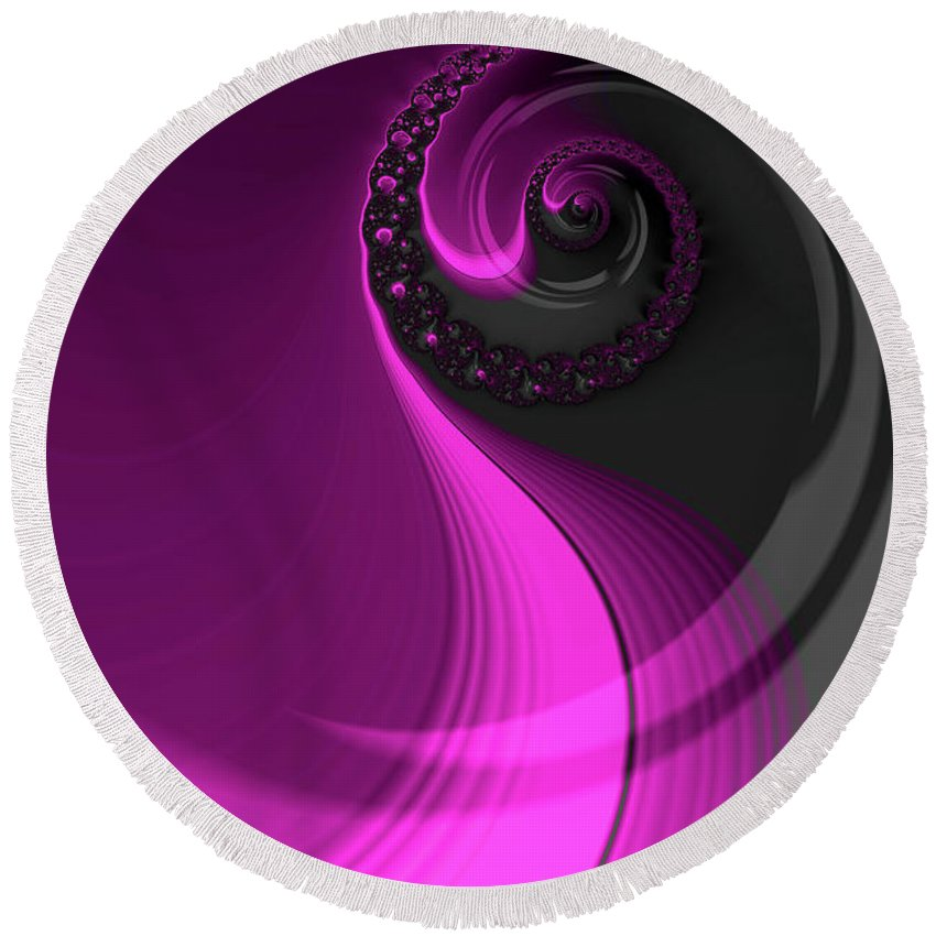 Fractal Round Beach Towel featuring the digital art Dreaming In Purple by Steve Purnell