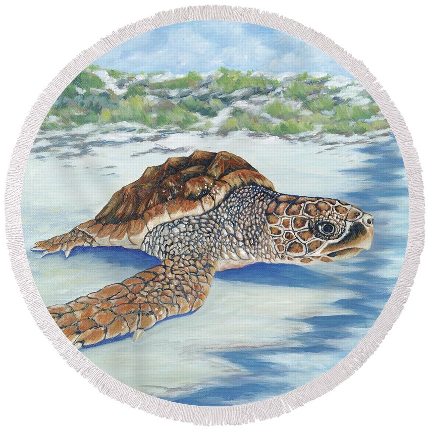 Sea Turtle Round Beach Towel featuring the painting Dreaming Of Islands by Danielle Perry