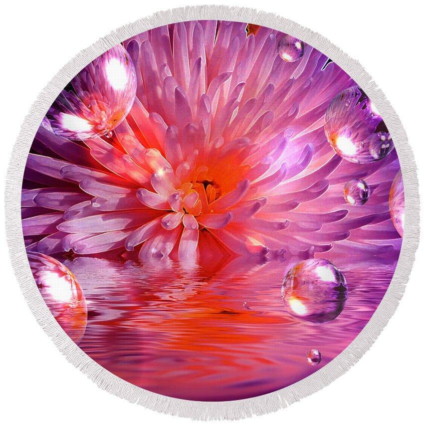 Chrysanthemum Round Beach Towel featuring the mixed media Dreams 3 Chrysanthemum by P Donovan