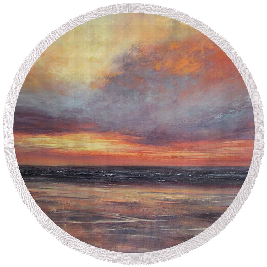 Seascape Painting Round Beach Towel featuring the painting Dreams Are Made Of This by Valerie Travers