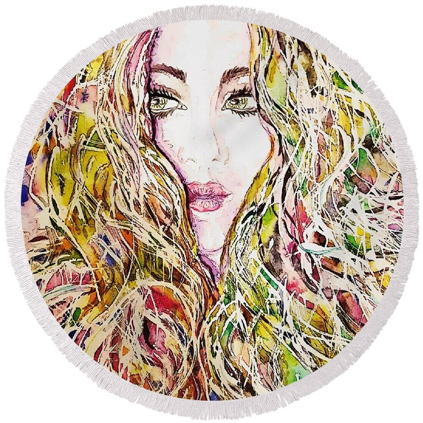 Hair Curls Messy Chaotic Waves Girl Yellow Pink Green Eyes Lips Beauty Gorgeous Blush Woman Girl Face Looking Soft Painting Round Beach Towel featuring the painting Dreams Do Come True by Nicole Vilardo