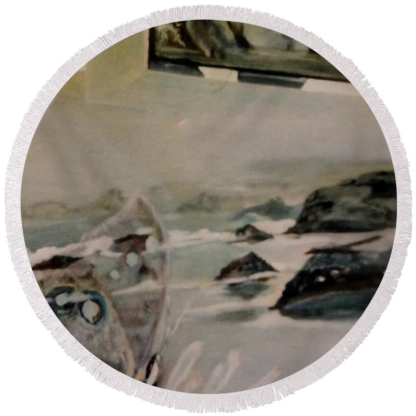 Fantasy. Combination Of A Pigeon On The Window Round Beach Towel featuring the painting Dreams Of Serenity by Irina Stroup