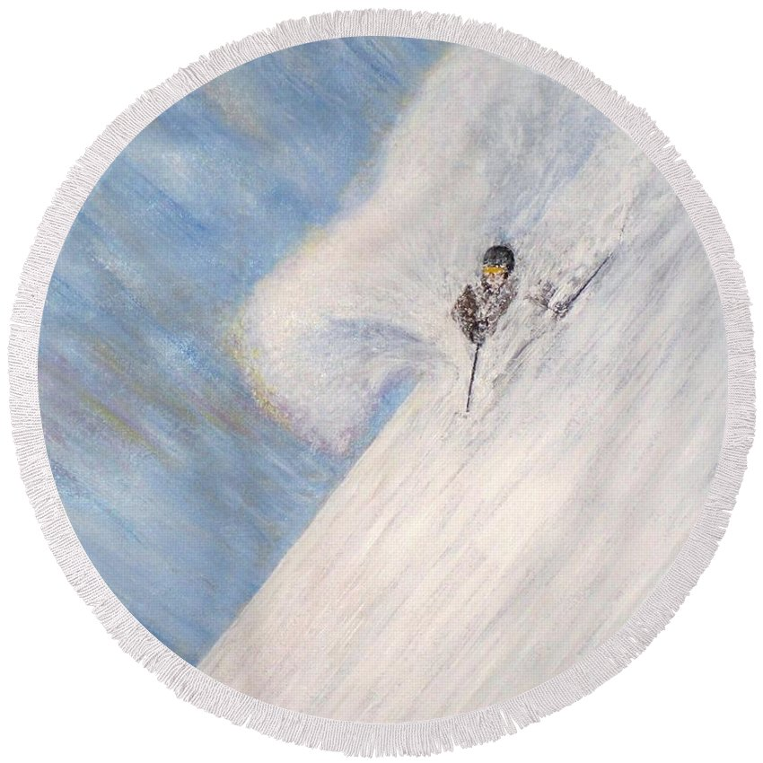 Landscape Round Beach Towel featuring the painting Dreamsareal by Michael Cuozzo
