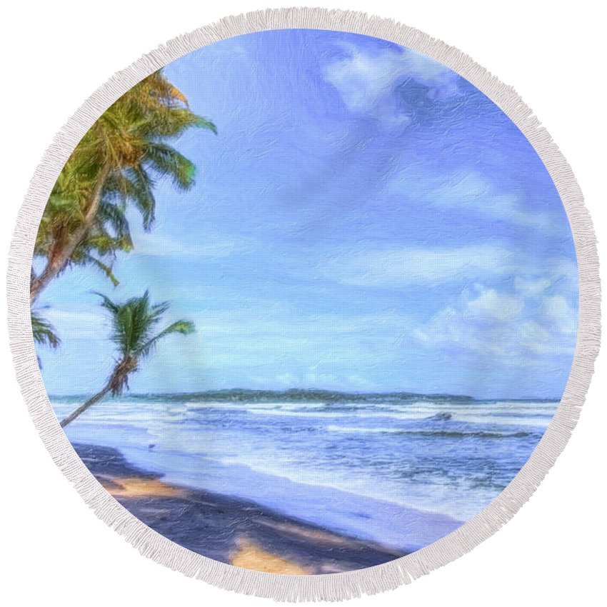 Trinidad Round Beach Towel featuring the photograph Dreamy Manzanilla by Nadia Sanowar